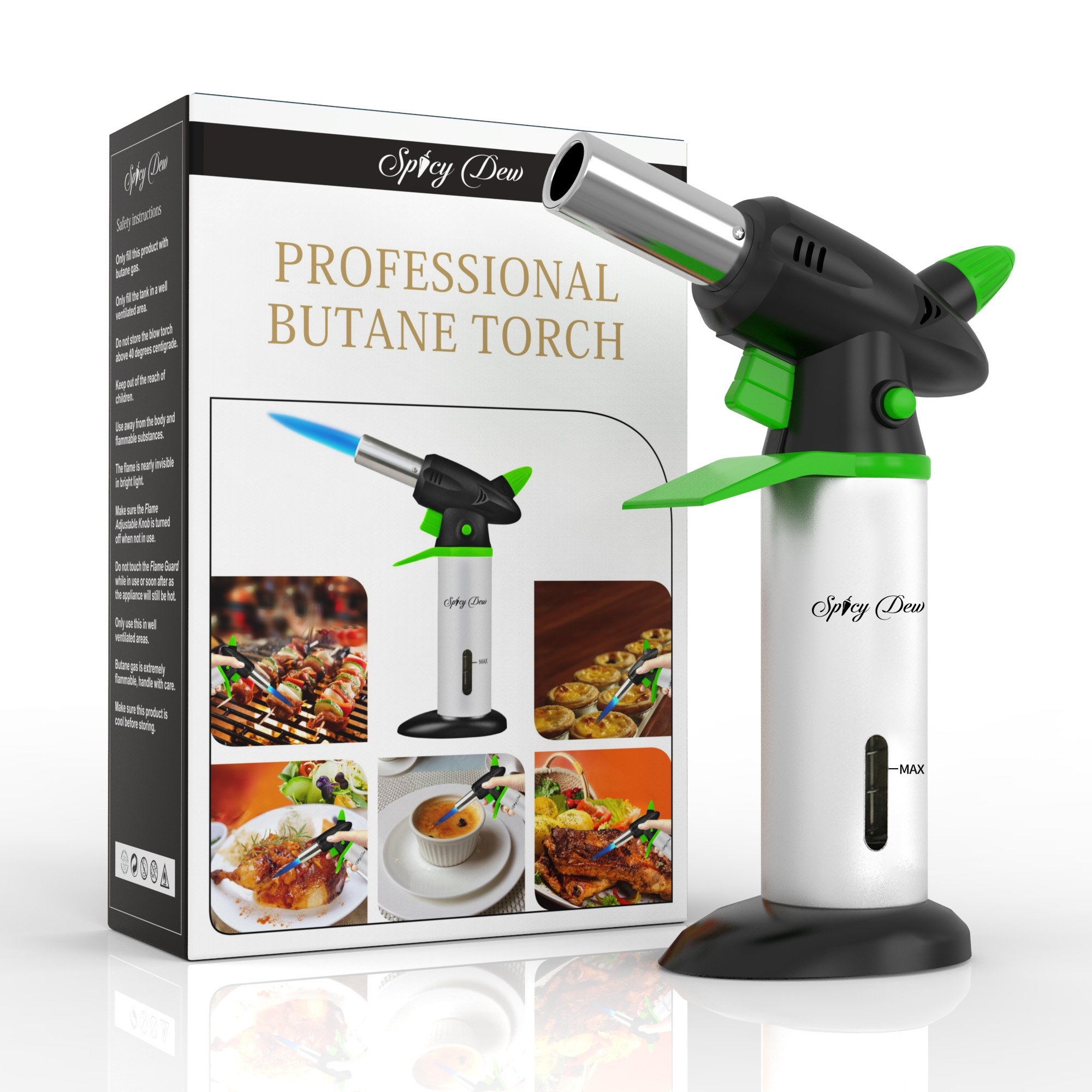 Blow Torch - Best Creme Brulee Torch - Refillable Professional Kitchen Torch with Safety Lock and Adjustable Flame - Culinary Torch - Micro Butane Torch with Fuel Gauge - Cooking Torch - Food Torch