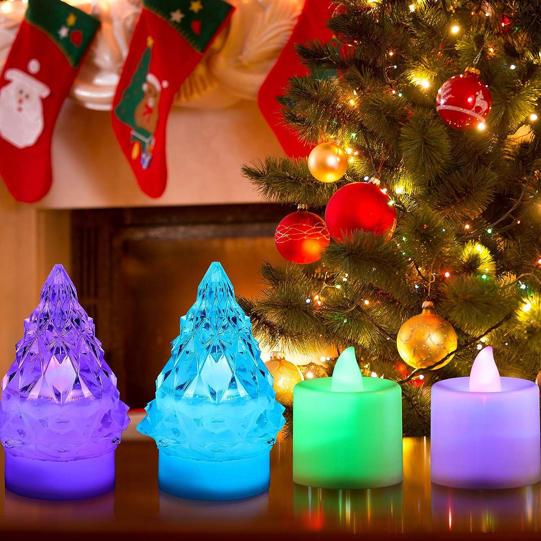 Stampo per Albero Natale 3D Silicone Resina Supporto per Luce Notturna Stampo Colata di Resina Epossidica con 4 Candele Tealight LED Tealight Cambia Colore Funziona a Batteria per Decorazioni Natale