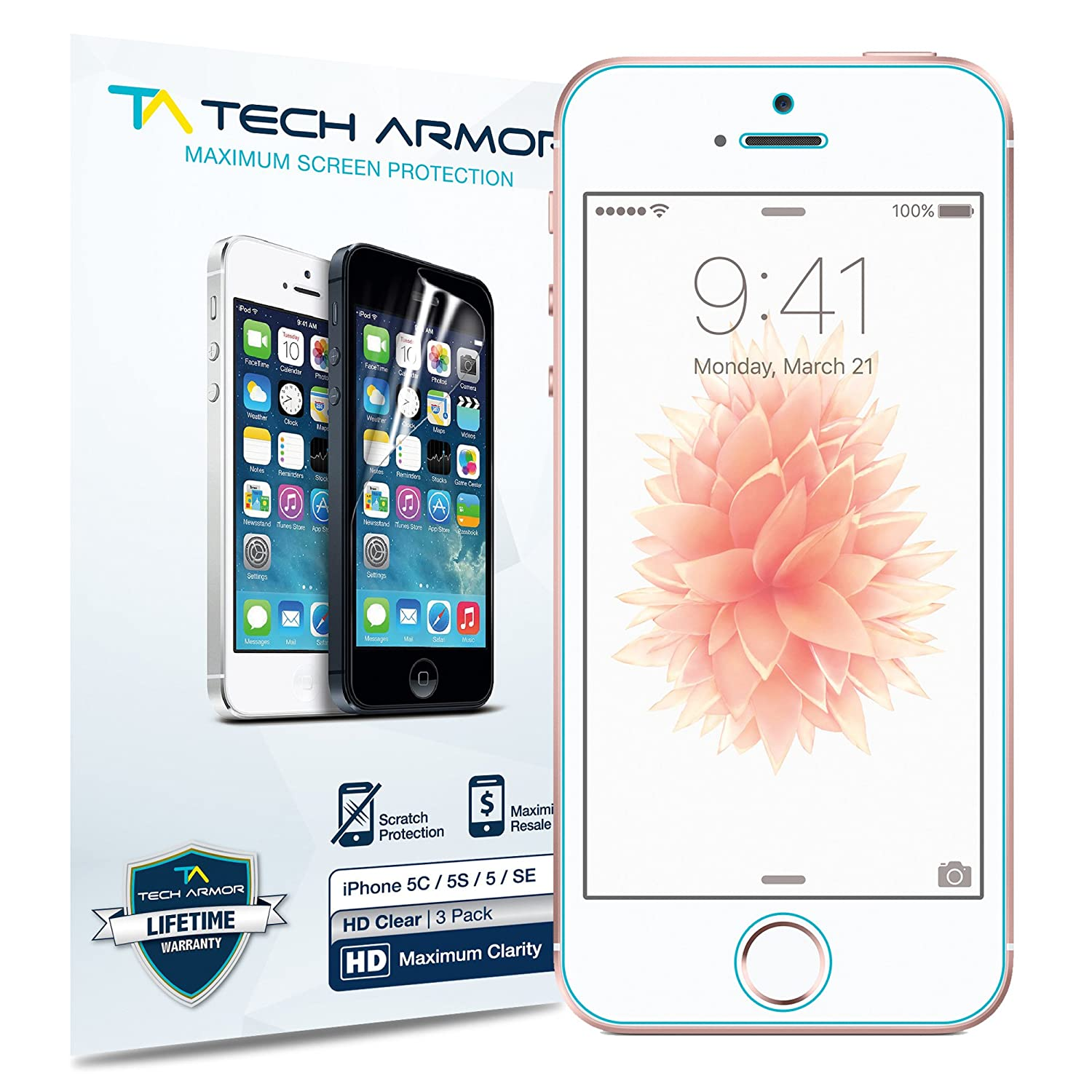 Tech Armor High Definition Clear Screen Protector for iPhone 5/5C/5S/SE (Pack of 3) FBA_SP-HD-APL-IP5-3