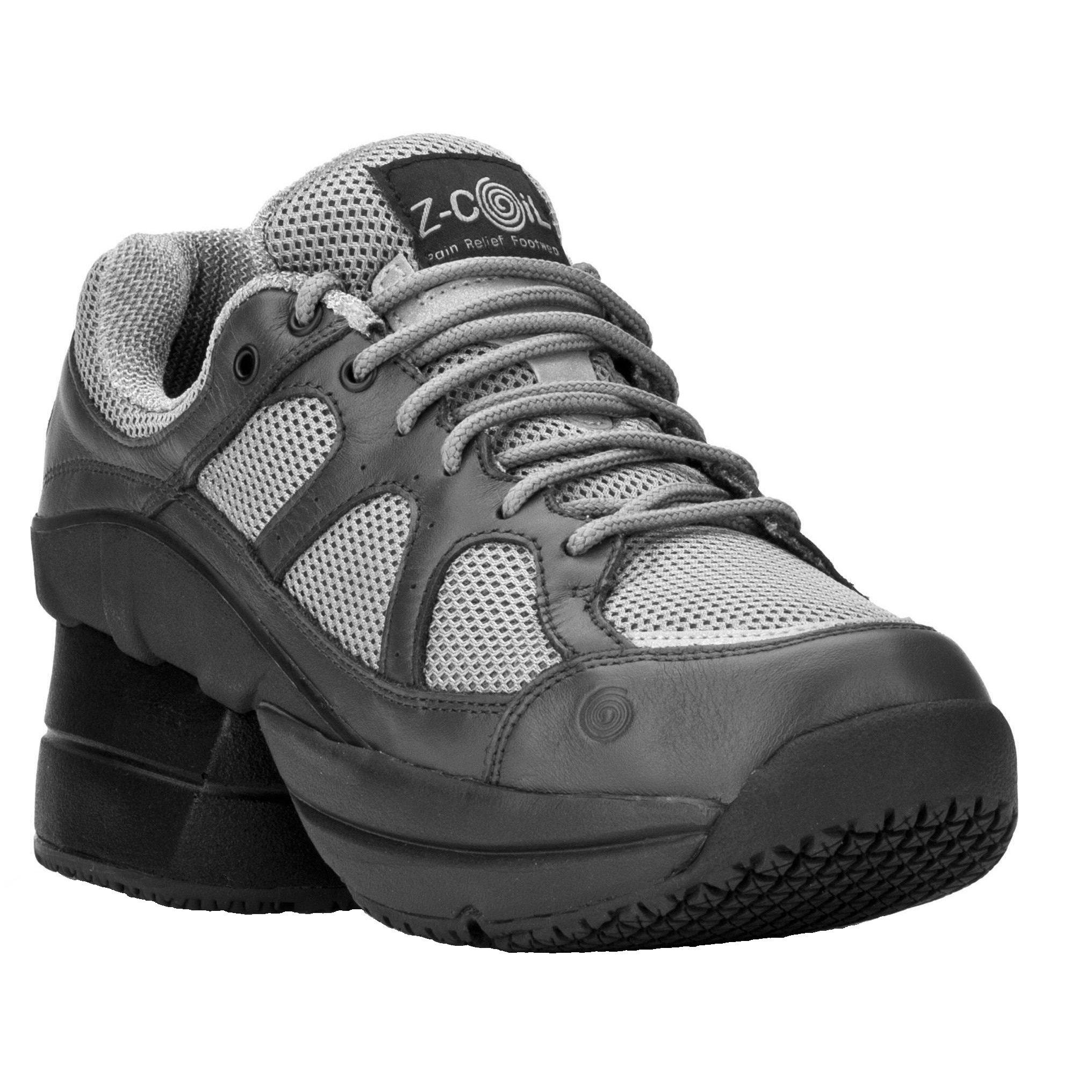 Z-CoiL Women's Liberty Slip Resistant Enclosed CoiL Gray Leather Tennis Shoe 9 E US