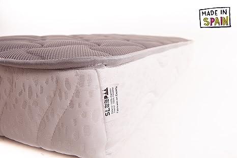 SLEEPAA Colchón de Cuna 120x60 cm Fibra DE Coco Natural y MUELLES Transpirable Antiácaros Hipoalergénico Tejido Exterior Suave Altura 15 cm Fabricado en ...