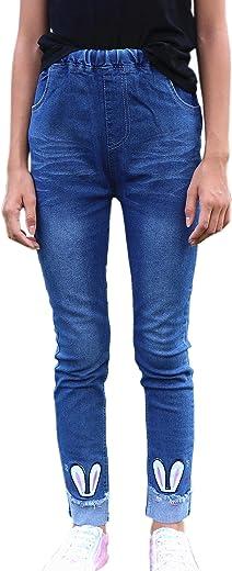 بنطلون جينز ضيق للقطط من الجينز باللون الأزرق به فتحة ممزق للفتيات الكبيرات والأطفال