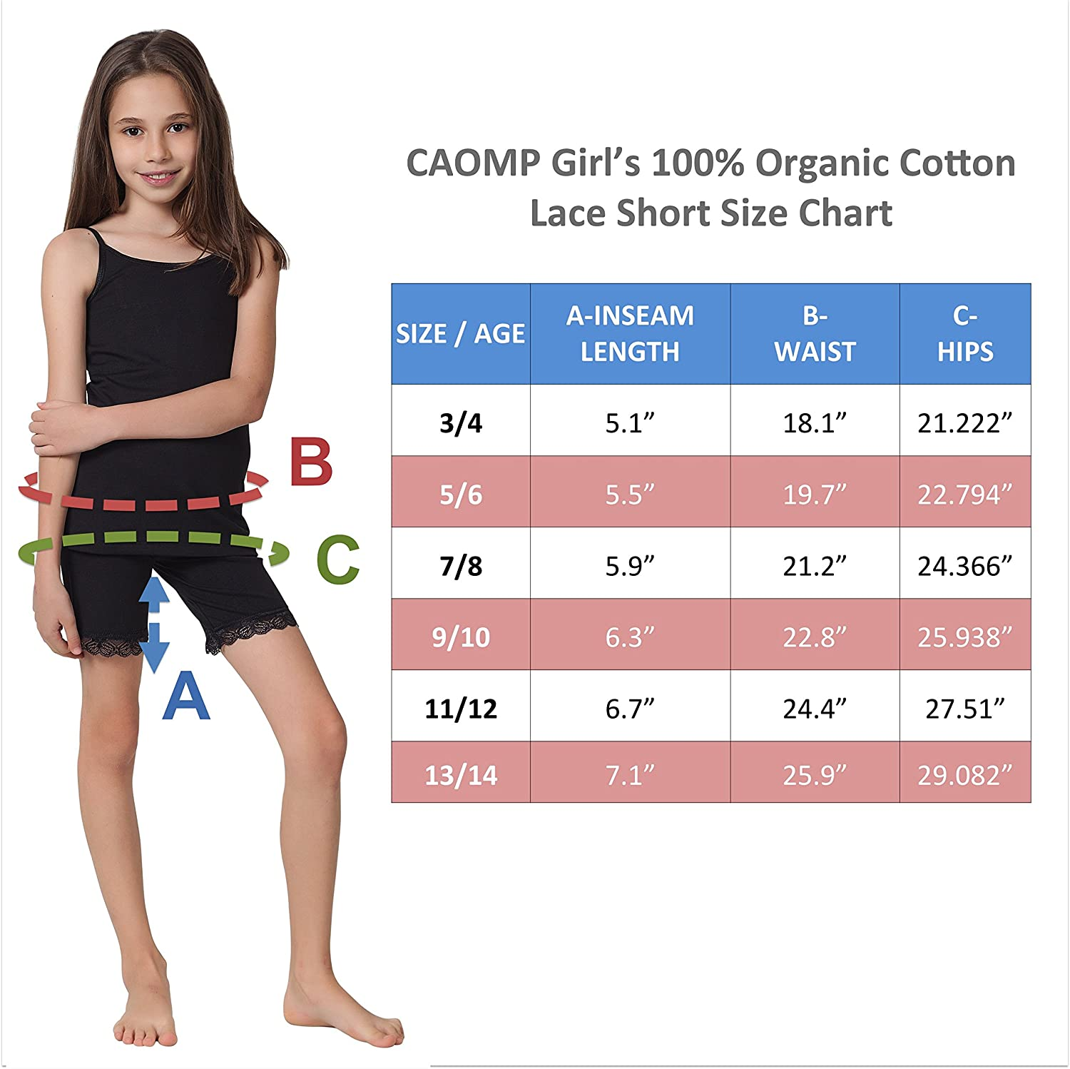 Tagless 3-Pack Certified Organic Cotton Spandex Underwear for Dresses CAOMP Girl/'s Bike Shorts