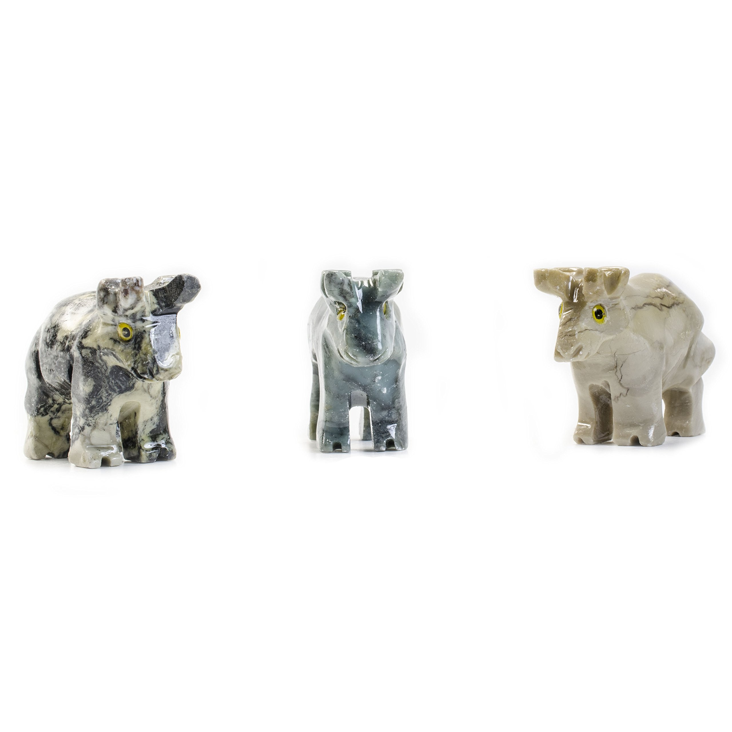 Fantasia Creations: 30 pcs Bull Soapstone Animal Figurine - Hand Carved by Fantasia's Master Artisans for Party Favors, Collecting, Wire Wrapping, Gifts and More!