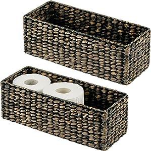 mDesign Natural Woven Water Hyacinth Bathroom Toliet Roll Holder Storage Organizer Basket Bin; Use in Bathroom, Toilet Tanks - Holds 3 Rolls of Toilet Paper, 2 Pack - Black Wash