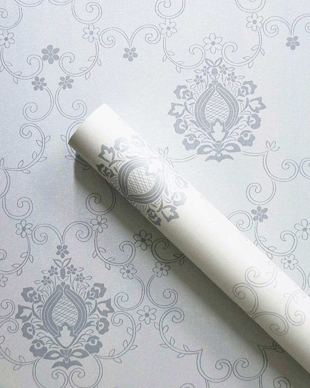 Amazon Com Grey Floral Paper Self Adhesive Wallpaper Damask Removable Wallpaper Peel And Stick Wallpaper Silver Floral Paper Decorative Flowers Shelf Liner Dresser Drawer Sticker17 7 78 7 Pvc Home Improvement