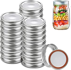 72 Pack Canning Lids, Split-Type Canning Jar Lids 70MM Regular Mouth with Silicone Seals, Bands Leak Proof and Secure Mason Canning Jar Caps, Pickling, Fermenting, Freezing (Silver,70mm)