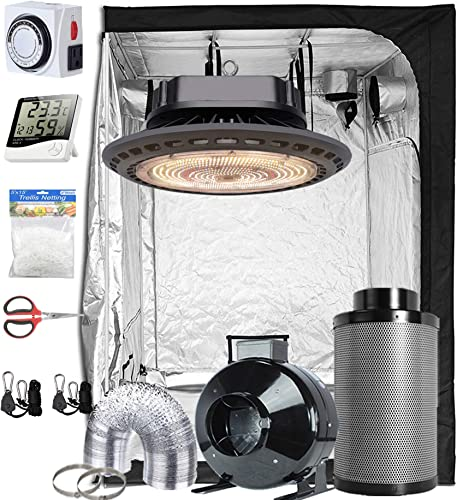PrimeGarden 240W Full Spectrum Professional LED Grow Light 48 x 48 x 80 600D High-Reflective Mylar Grow Tent 6 Fan Filter Combo Accessories Growing Complete Kit