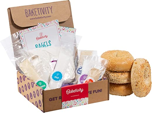 Baketivity Kids Baking DIY Activity Kit - Bake Delicious Bagels with Pre-Measured Ingredients – Best Gift Idea for Boys and Girls Ages 6-12 – Includes Free Hat and Apron