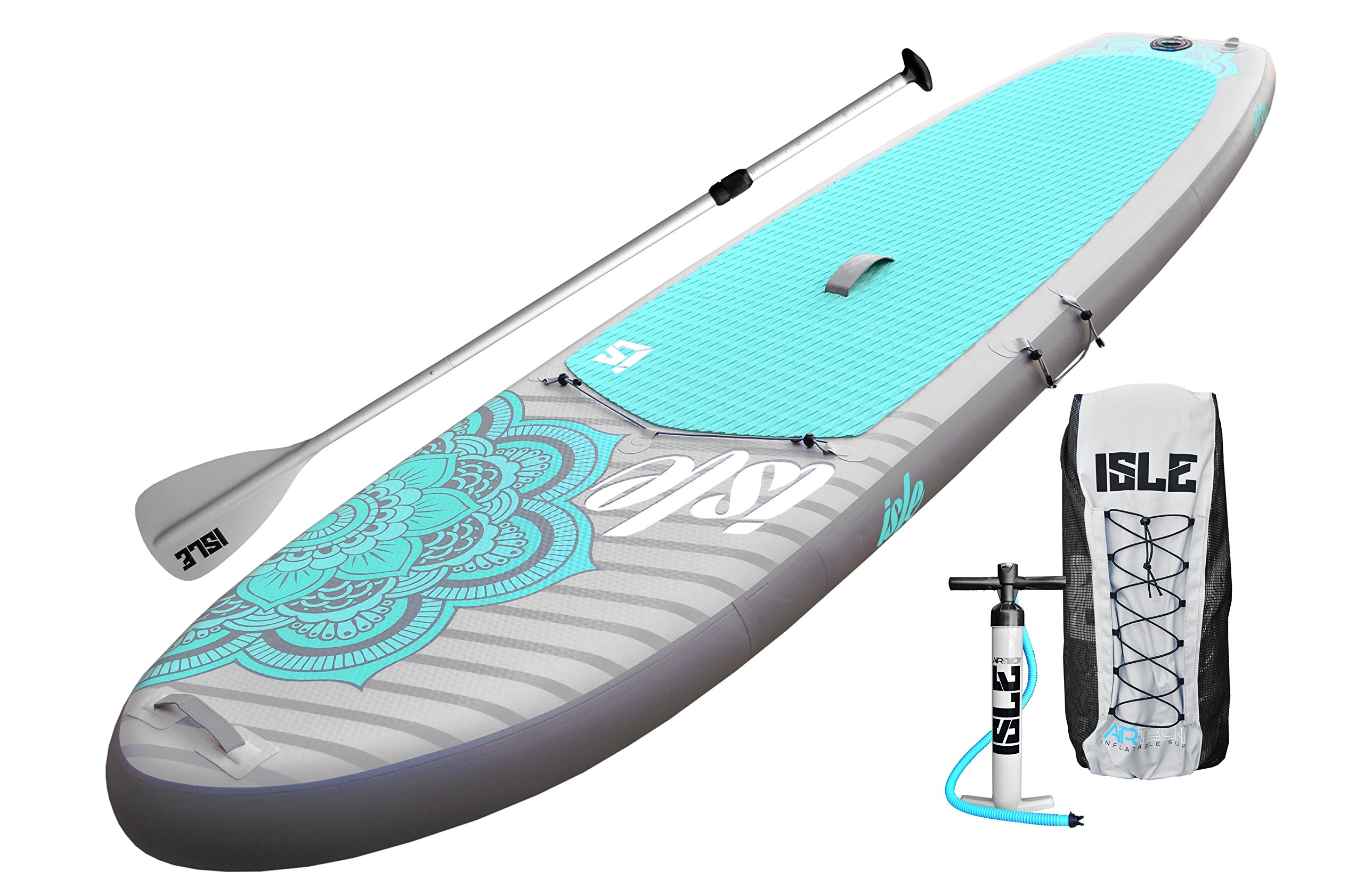 ISLE 10'4 Airtech Inflatable Yoga Stand Up Paddle Board (6'' Thick) iSUP Package | Includes Adjustable Travel Paddle, Carrying Bag, Pump