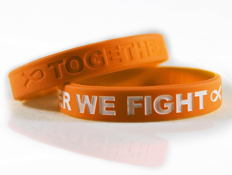 がん撲滅ブレスレット Saying Together We Fight 患者 生存者 家族 友人へのギフトに セットリボンシリコンラバーリストバンド2本セット B0772QF212 Kidney Cancer Orange