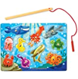 Melissa & Doug Personalized Magnetic Wooden Fishing Game and Puzzle Ocean Animal