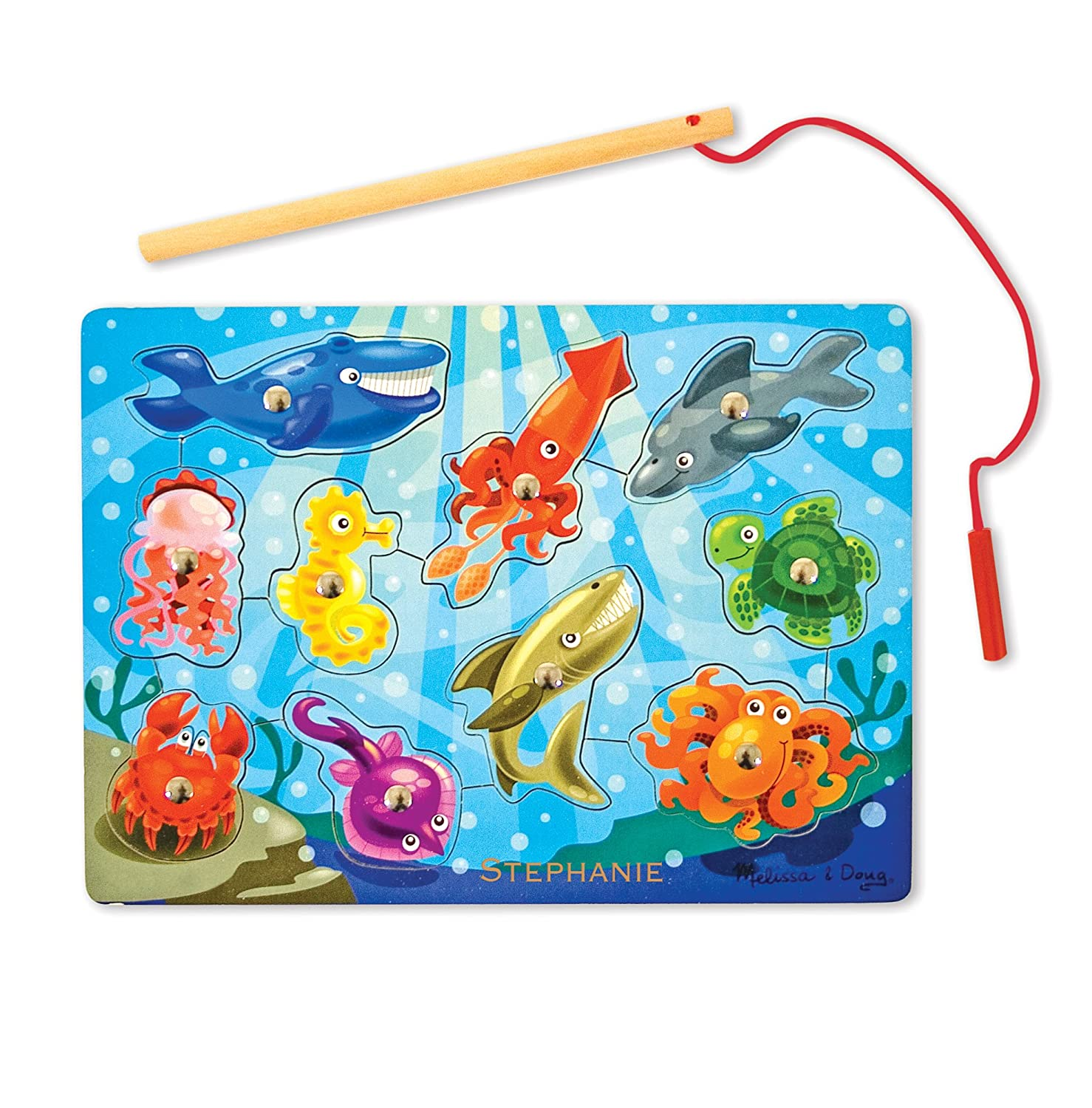Melissa & Doug Magnetic Wooden Fishing Game Puzzle Wooden Ocean Animal Magnets 3778