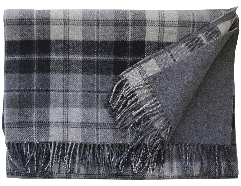 Steinbeck  Grau-schwarze Karo Wolldecke 100% Lambswool, 130x190cm mit Fransen