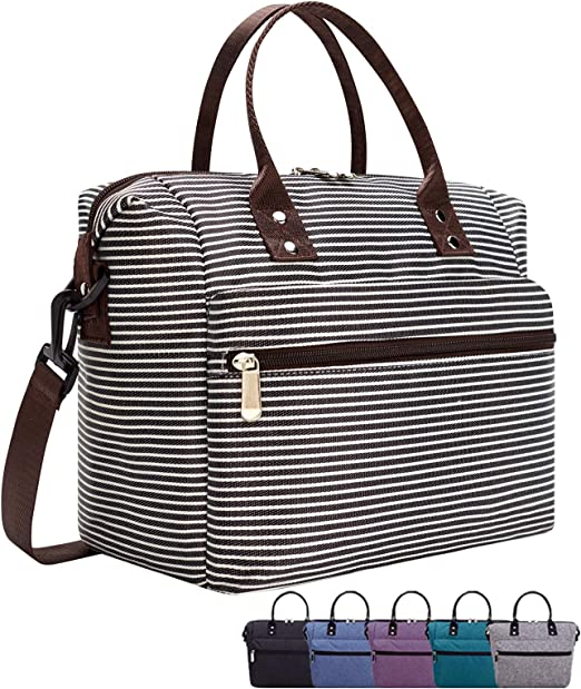 Stripe Mokaloo Insulated Lunch Box for Women Reusable Thermal Cooler Bag Lunch Container for Women Men Work Picnic Multi-functional Lunch Tote Bags with Shoulder Strap Lunch Bag