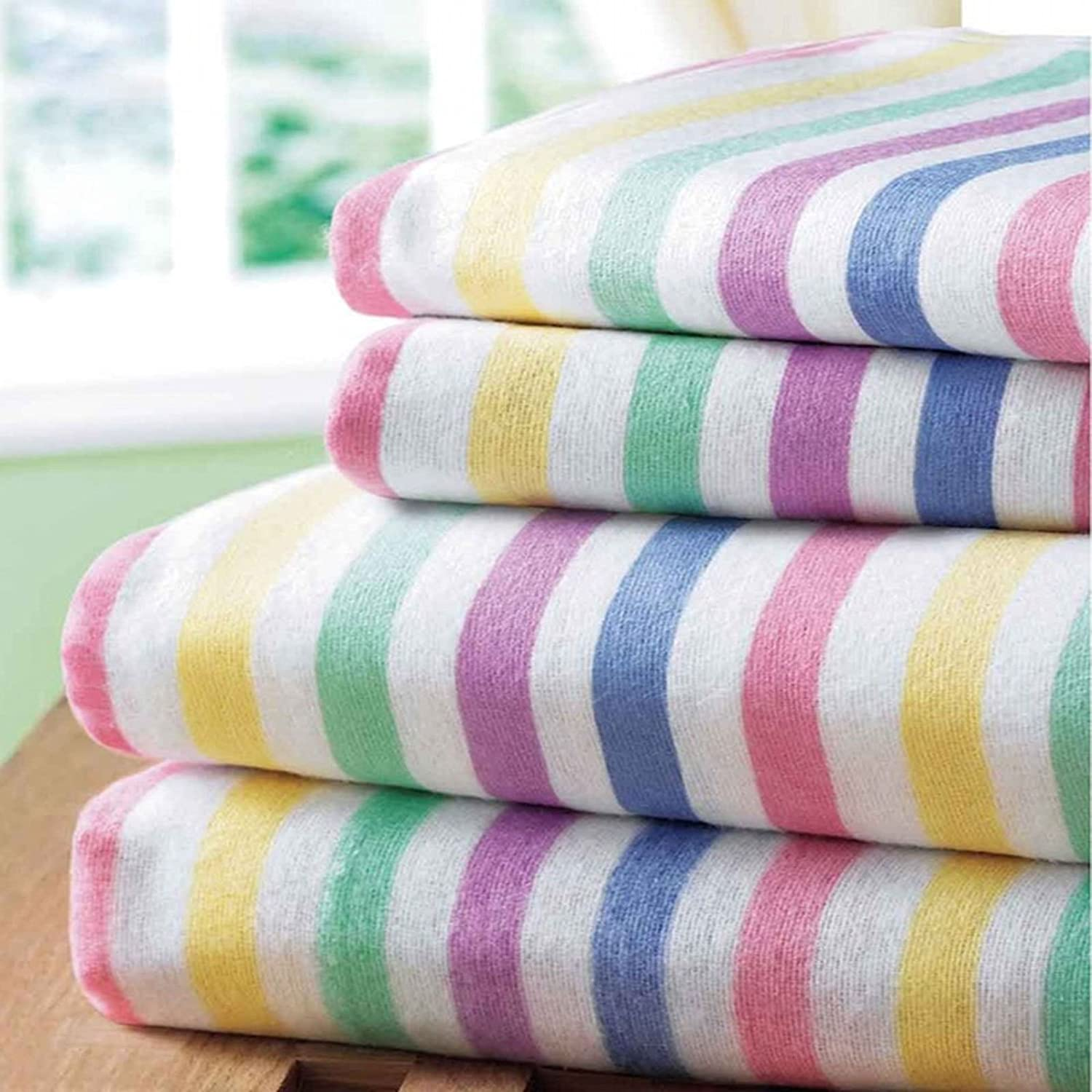 Bedding Heaven Super Soft Flannelette Sheet Set - Candy Stripe - Fairisle 100% Brushed Cotton Fitted & Flat Sheet & Pillowcases (double, candy/stripe) Rapport