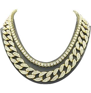 Shiny Jewelers USA Mens Iced Out Hip Hop Gold Tone CZ Miami Cuban Link Chain Choker
