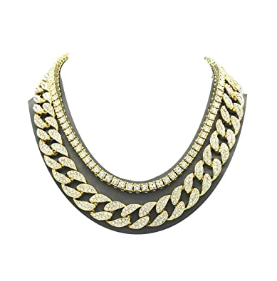 8c7f2d9dea7 Pyramid Jewelers Mens Iced Out Hip Hop Gold Tone CZ Miami Cuban Link Chain  Choker Necklace