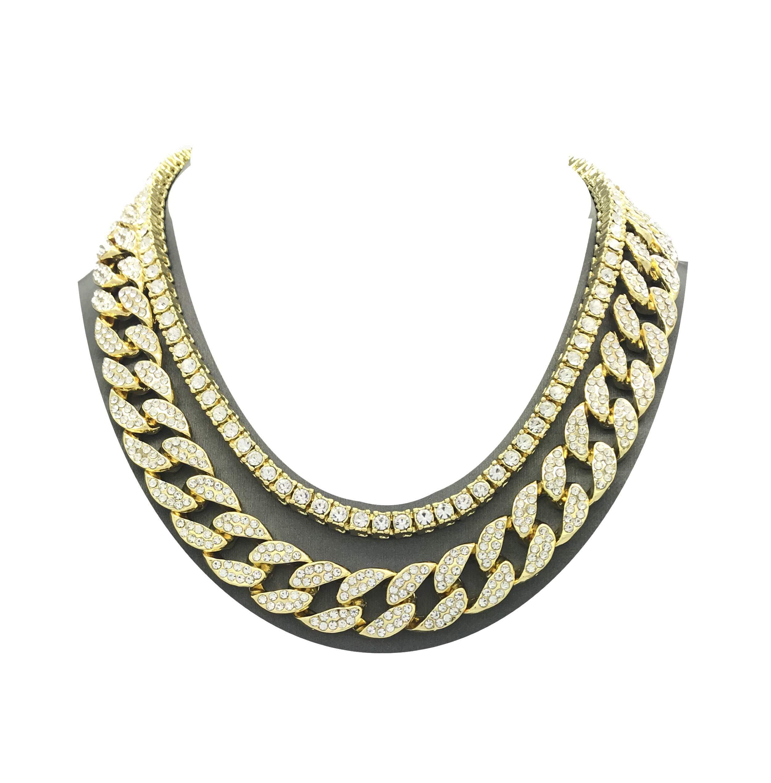 Shiny Jewelers USA Mens Iced Out Hip Hop Gold tone CZ Miami Cuban Link Chain Choker Necklace (1 Row CZ & CZ Cuban 16''+18'')