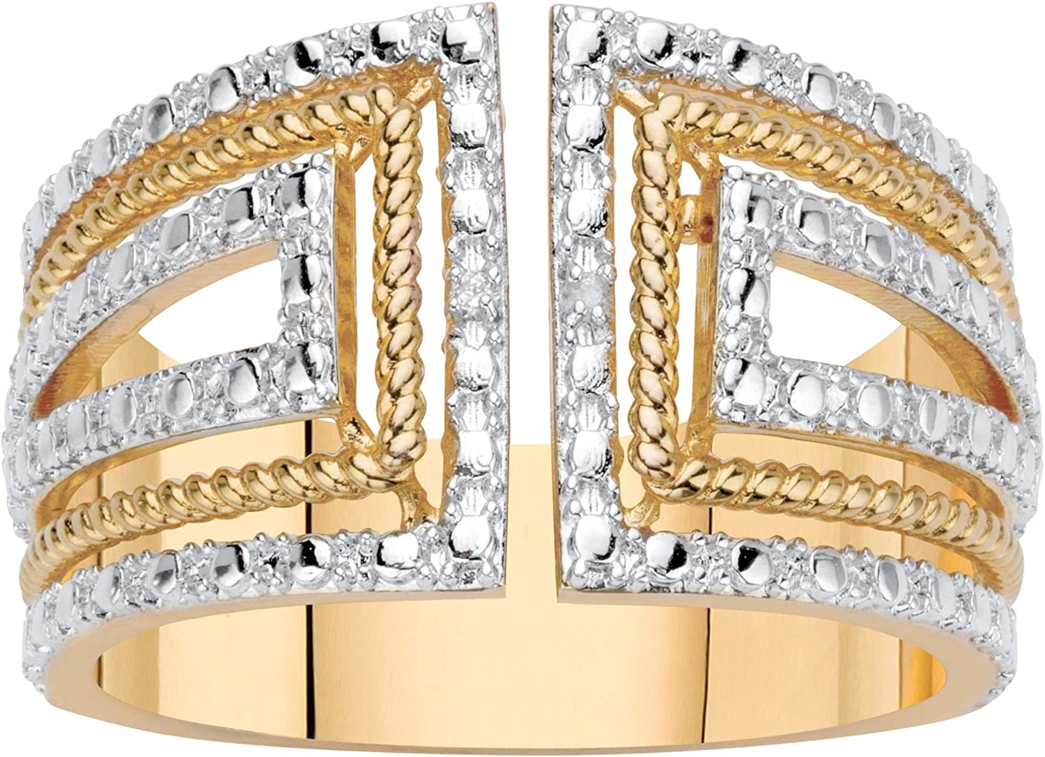 Palm Beach Jewelry 18K Yellow Gold Genuine Diamond Accent Two Tone Art Deco Wide Band Ring