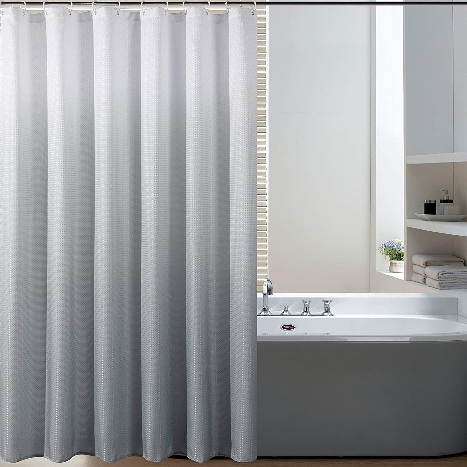 Amazon Com Bermino Textured Fabric Bath Shower Curtain Ombre Shower Curtains For Bathroom With 12 Hooks 70 X 72 Inch Grey Gradient Home Kitchen