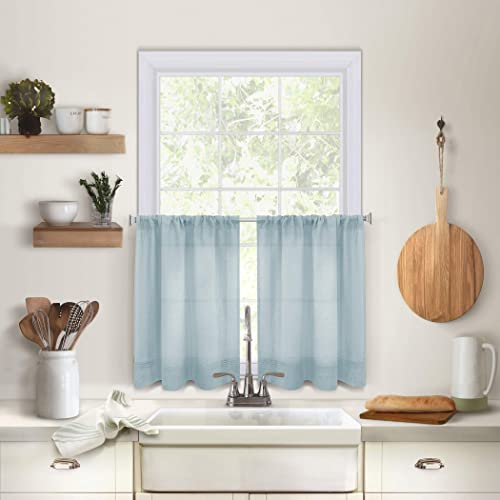 Elrene Home Fashions Pintuck Kitchen Window Tier Set of 2, 30 x 36 , Mineral, 2 Pieces