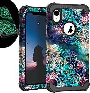 Case for iPhone XR, iPhone 6.1 Inch noctilucous Case with Soft Silicone Bumper Hard Shell Easy Grip Design for Apple iPhone XR 6.1 inch(2018) (Mandala)