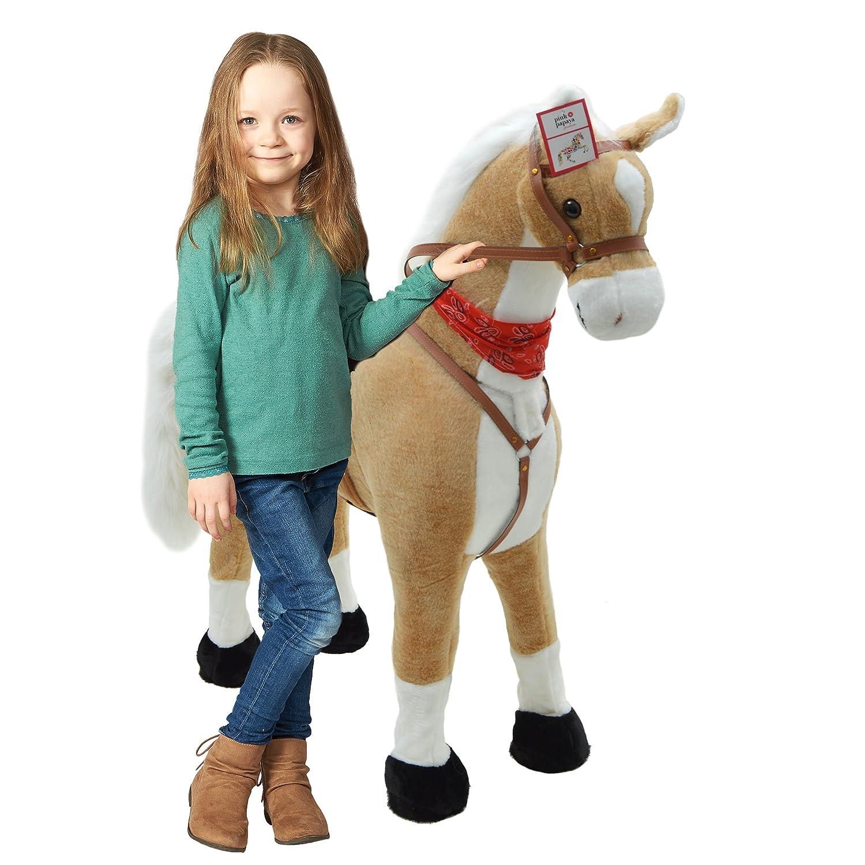 Plüschpferd XXL 105cm Einhorn - Lissy, das riesige Pferd zum Reiten, ein tolles Stehpferd XXL, bis 100kg, Spiel-pferd Plüsch Einhorn XXL zum Draufsitzen inkl. kleiner Bürste - ein Kindertraum für Mädchen! Farbe in weiß 3S GmbH & Co.KG