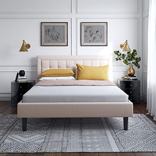Vibe King Upholstered Platform Bed Mattress Foundation Durable Slat and Center Support