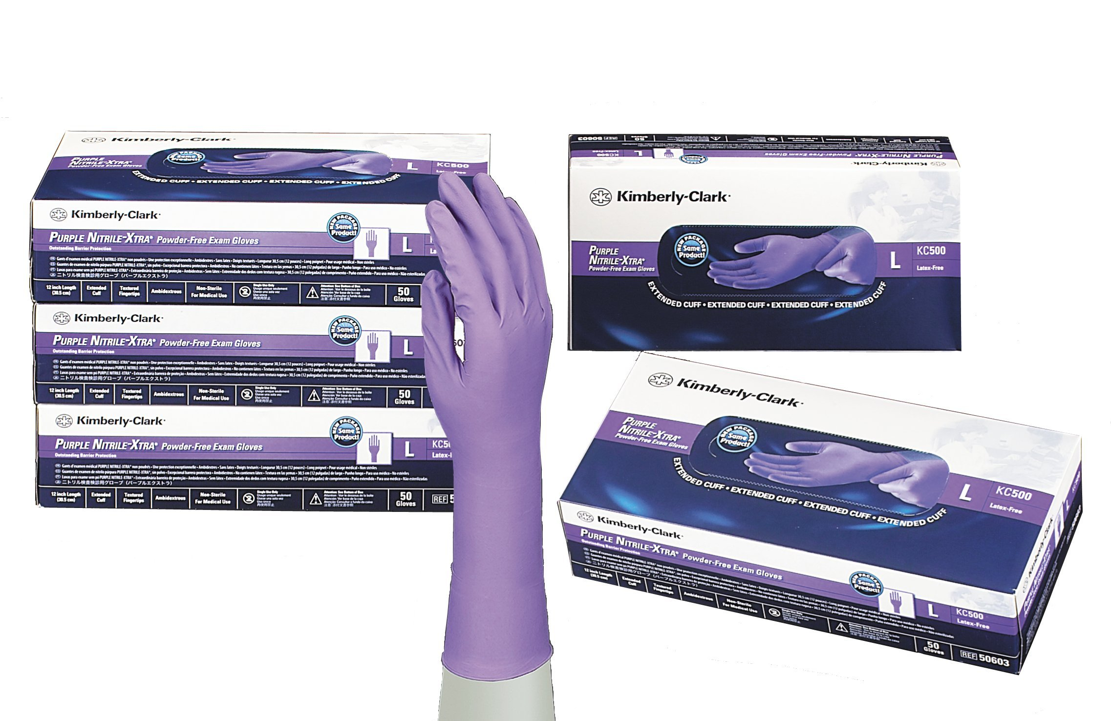 Kimberly-Clark 50601 12 In. Nitrile-Xtra Powder-Free Exam Gloves, S, 0.006'' Height, 3.15'' Wide, 12.2'' Length, Nitrile, Purple (Pack of 50)