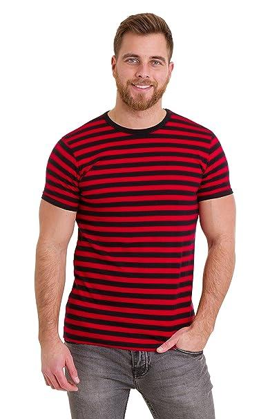 1960s -1970s Men's Clothing Run & Fly Mens 60s Retro Black & Red Striped Short Sleeve T Shirt AUD 32.81 AT vintagedancer.com