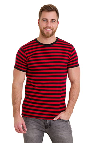 c43387d86a Run & Fly Mens 60's Retro Black & Red Striped Short Sleeve T Shirt ...