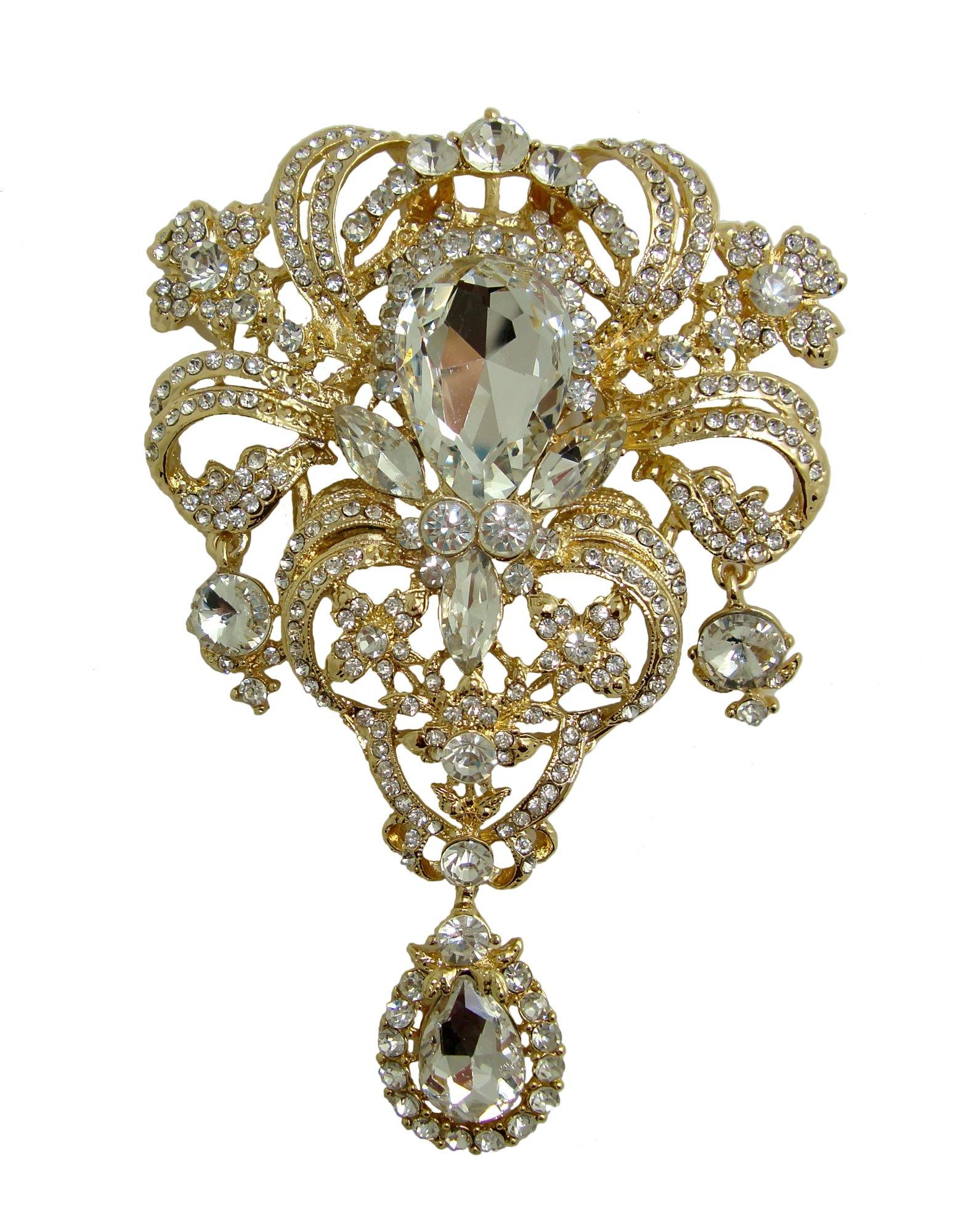 TTjewelry Classic Style Flower Drop Brooch Pin Rhinestone Crystal Pendant (White Gold-tone)