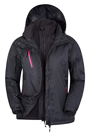 Mountain Warehouse Chaqueta Impermeable 3 en1 Bracken Extreme para Mujer - Capa Impermeable para la Lluvia, Capucha Desmontable para Mujer, Ideal para ...