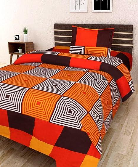 Sahil Enterprises 3D Designer Printed 180TC Polycotton 1 Single Bedsheet with 1 Pillow Cover