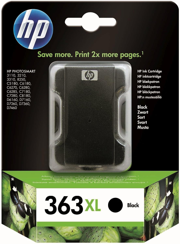 HP 363XL - Cartucho de tinta para impresoras (Negro, Alto, 1000 ...