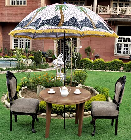 "MegaCraft Indian Nature Embroidered Garden Umbrella Outdoor Patio Parasol  72"" Cotton White - Amazon.com: MegaCraft Indian Nature Embroidered Garden Umbrella"