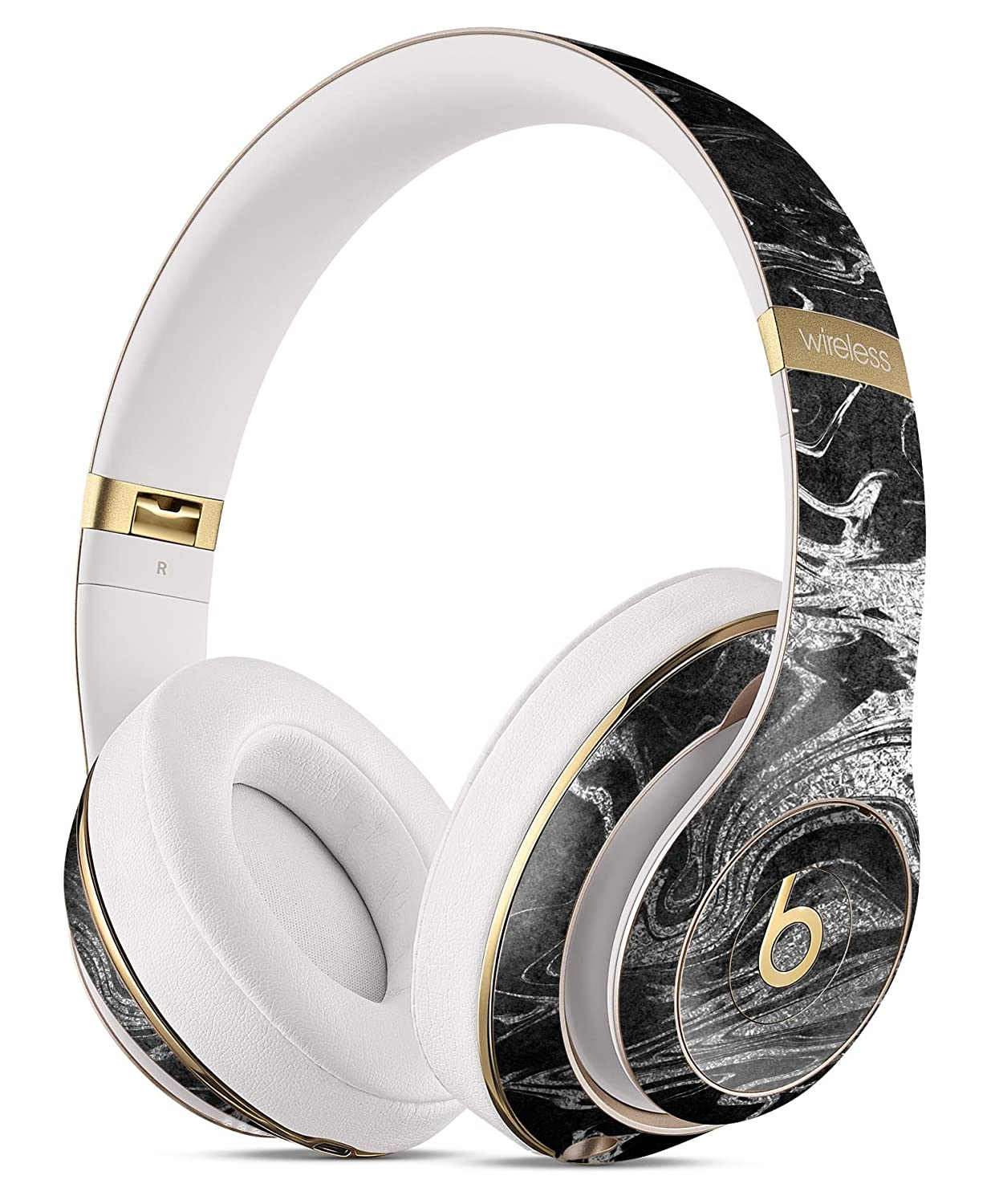 ブラック&シルバーマーブルスワールv8 Beats by Dreスキンキット/保護デカール Beats by Dre Studio 3 Wireless Black-&-Silver-Marble-Swirl-V8-v2 B077PS6YMR   Beats by Dre Studio 3 Wireless