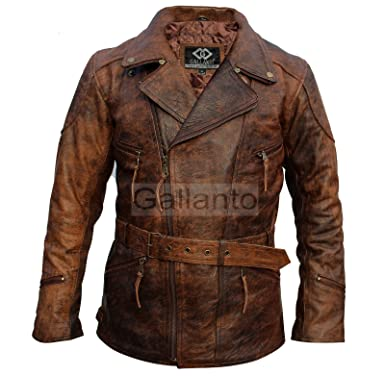 d602bef83aa Gallanto Eddie Mens 3 4 Motorcycle Biker Brown Distressed Vintage Leather  Jacket (7XL)