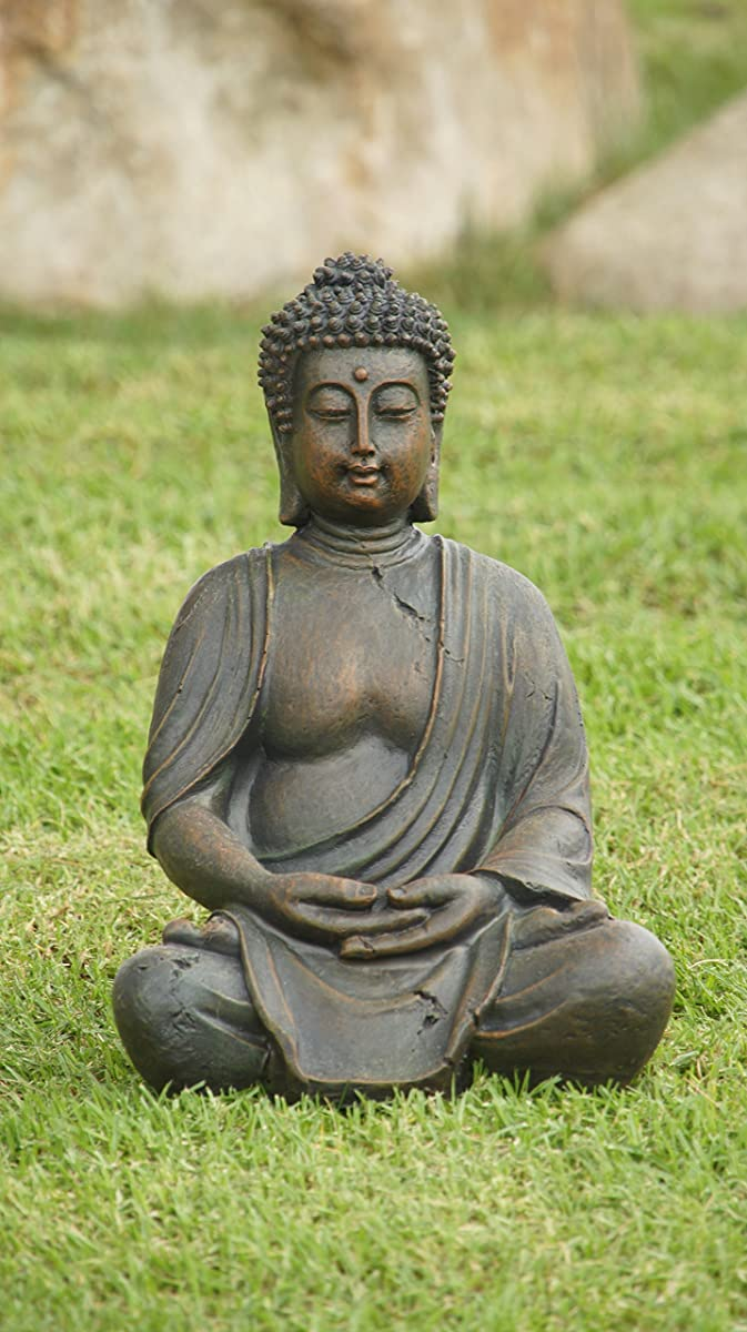 "Alpine GEM170 Buddha Statue Decoration, 16"" Tall, One Size, Gray"