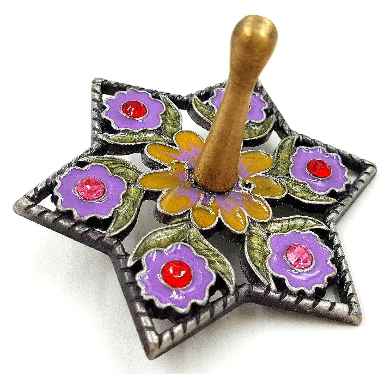 Hanukkah DREIDEL Chanukkah Sevivon With Crystals & Lilac Enamel Flowers Spinning Top Game From Israel B072C7CNT3