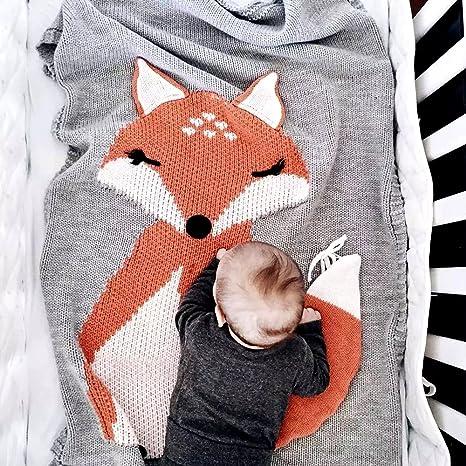 huxun bebé Kids – Manta para swaddle, Toddler Bebé Niños Lovely Fox suave cálido saco