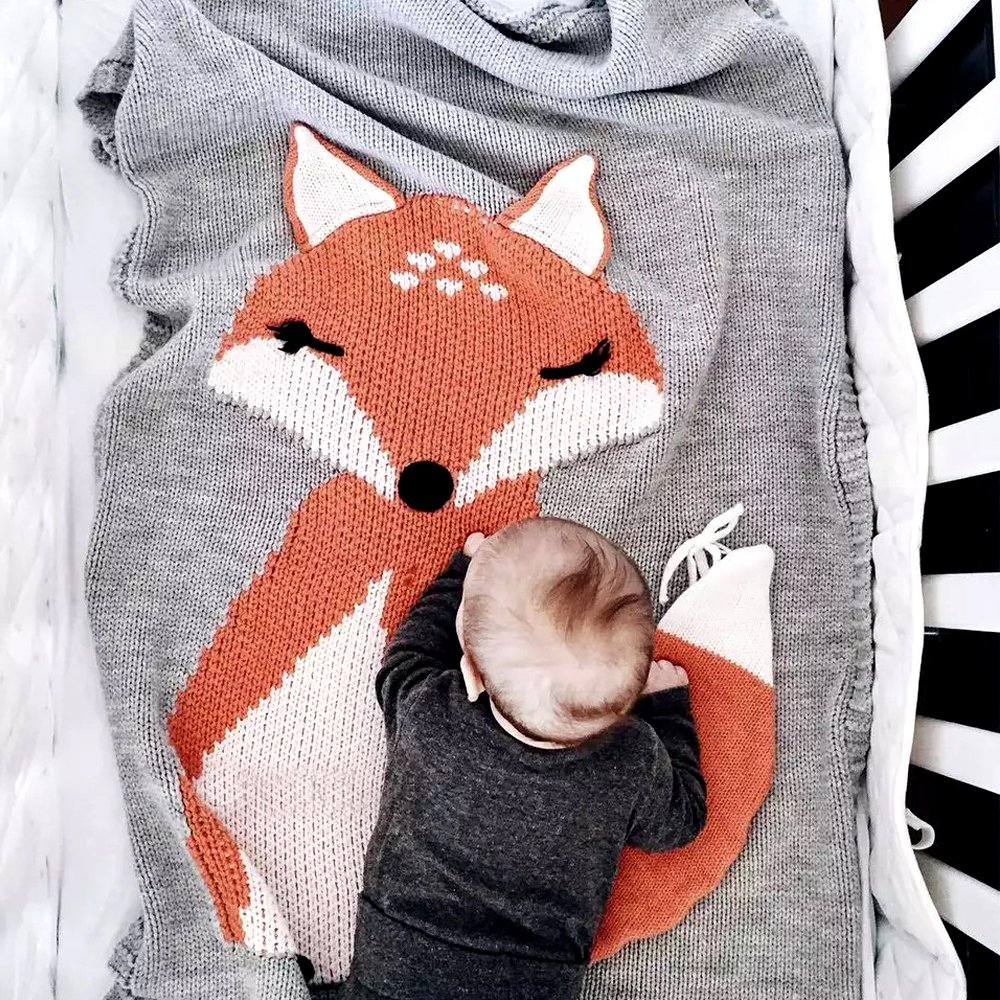 HILTOW Baby Kids Cute Blanket Wrap Swaddle,Toddler Baby Kids Lovely Fox Soft Warm Knit Blanket Sleeping Swaddle Cot Crib Wrap Quilt for Toddler Baby Kids