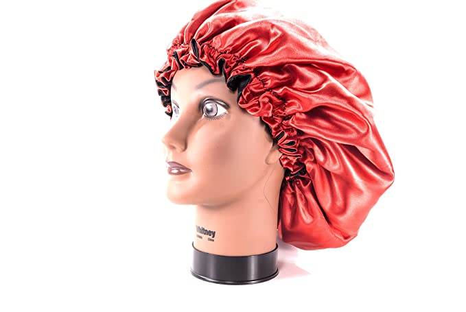 """(X-Large, RED) New 24"""" Handmade Fully Reversible Luxuries Pure Satin Hair Bonnet Safe For All Hair Types - Most Beneficial Hair care Product Available - Royal Sensations Hair Bonnet"""