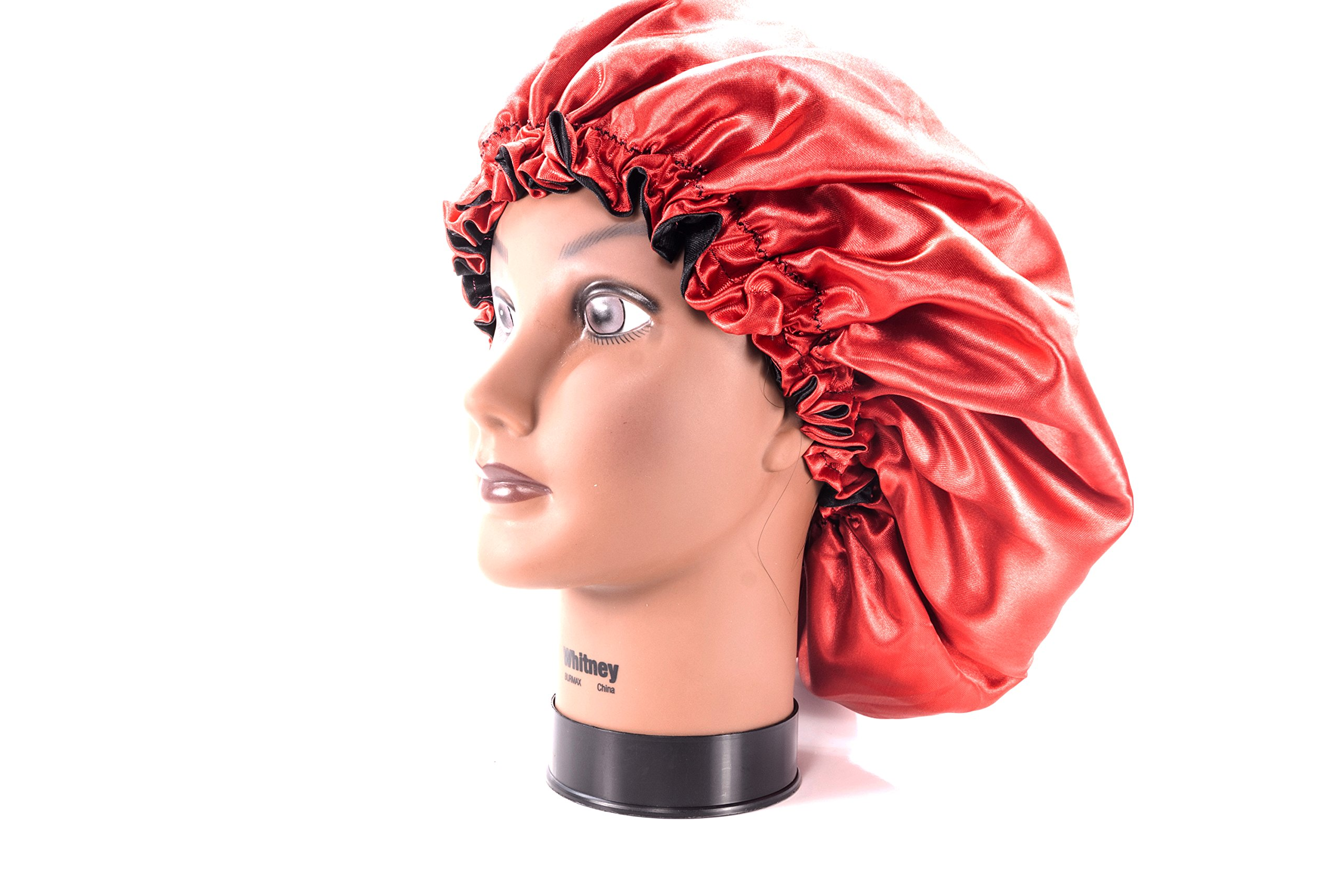 (X-Large, RED) New 24'' Handmade Fully Reversible Luxuries Pure Satin Hair Bonnet Safe For All Hair Types - Most Beneficial Hair care Product Available - Royal Sensations Hair Bonnet