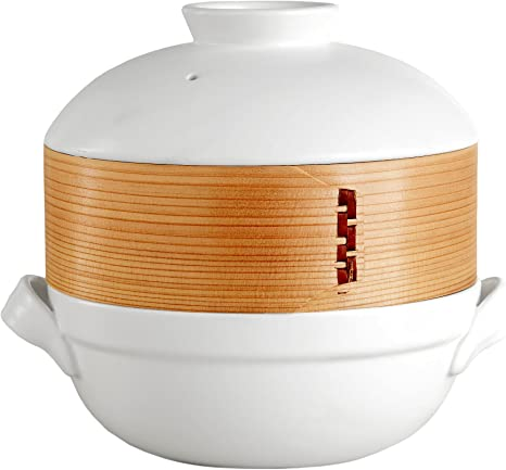 clay pot steamer Ceramic clay pot with bamboo steamer, world market