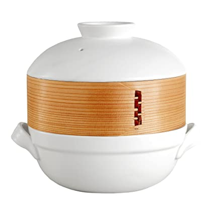 Bamboo Steamer Clay Pot Set – Perfect for Hotpot and Steaming Dumplings,  Siomai, Dim Sum, Steam Vegetables, Fish, and Rice