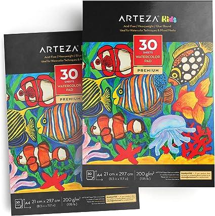 Arteza Cuaderno de acuarelas para niños | Tamaño A4 | Pack de 2 | 30 hojas x 2 | 200gms | Bloc de dibujo de acuarelas y técnicas mixtas | Ideal para niños y niñas: Amazon.es: Oficina y papelería