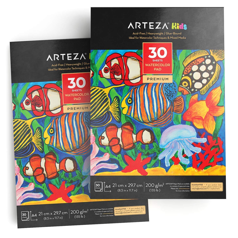ARTEZA子供向けドローイングブックA4水彩画(21 cm x 29.7 cm)、2ブロックセット、各30枚、200 GSM、水彩画とミックステクニックに最適   B07L8LMYMP