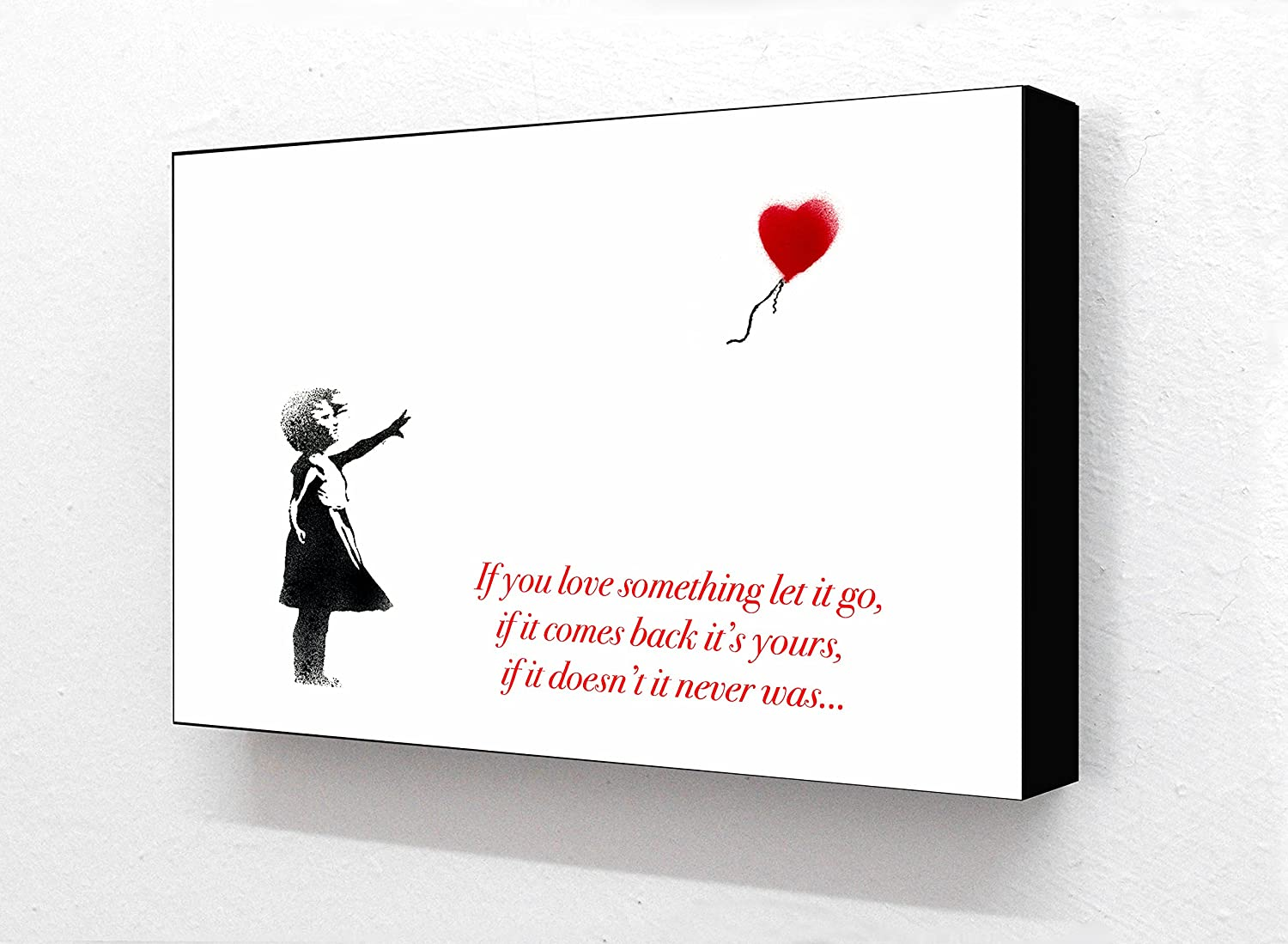 Balloon Girl Text..If you love something let it go ... 6 x 4 Inches Postcard Size Horizontal Block mounted print Laminated Posters